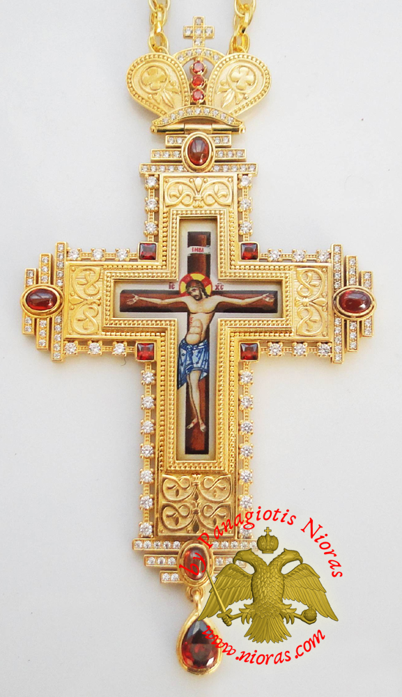 Orthodox Christ Pectoral Cross Brass Gold Plated with Semi Precious Stones 8x16cm - 357