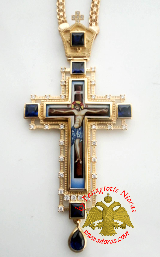 Orthodox Christ Pectoral Cross Brass Gold Plated with Semi Precious Stones 8x16cm - 434
