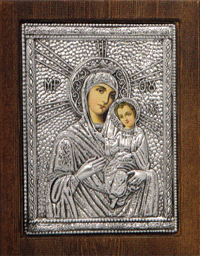 Our Lady of Tinos Silver Plated Icon