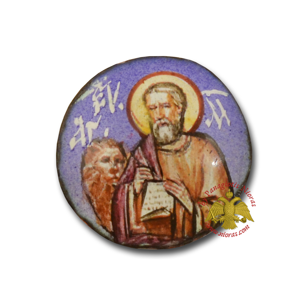 Russian Enamel Hand Painted Saint Mark Round Design