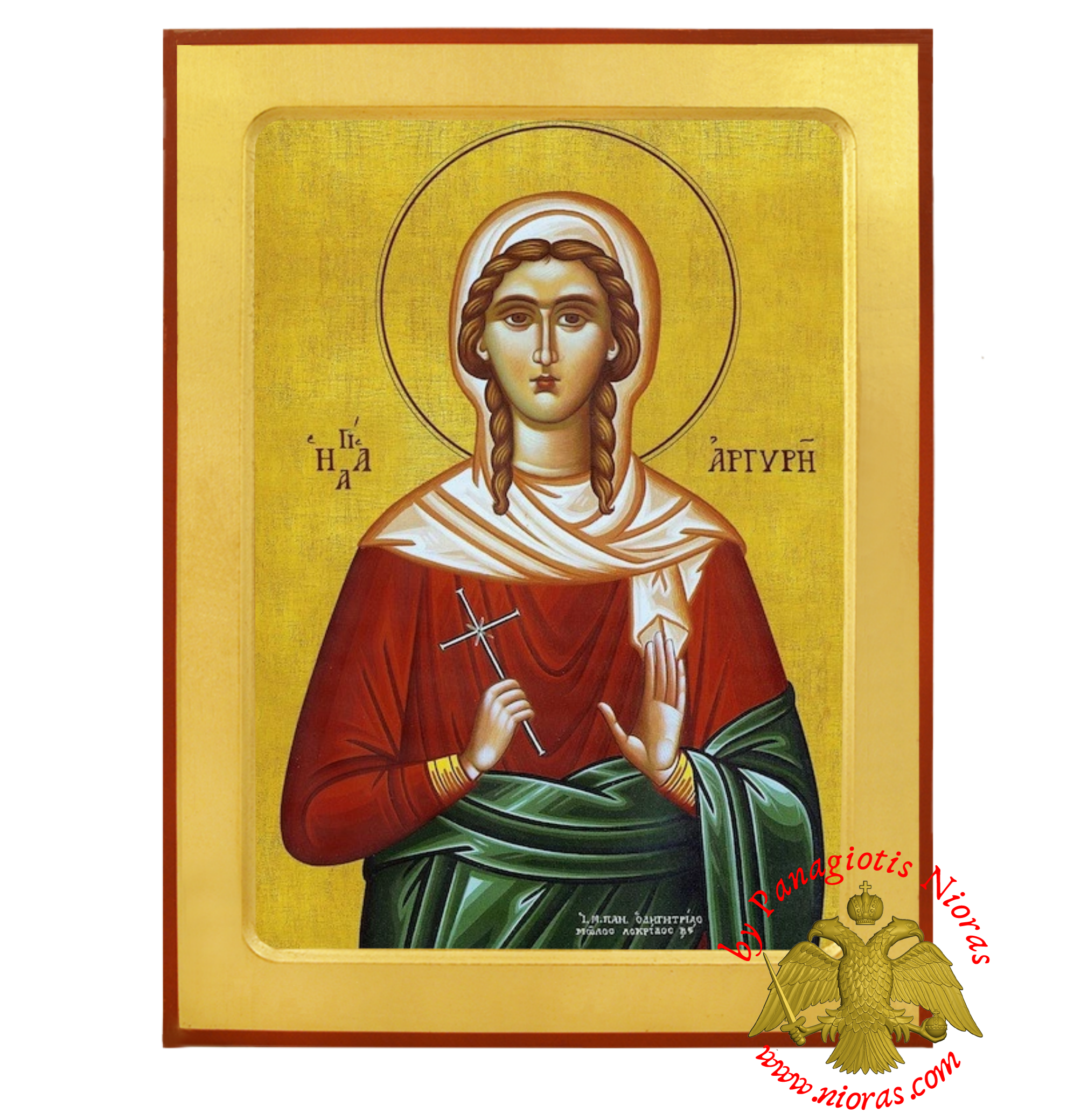 Saint Argyre, Argyro the Neomartyr of Proussa Orthodox Wooden Byzantine Icon
