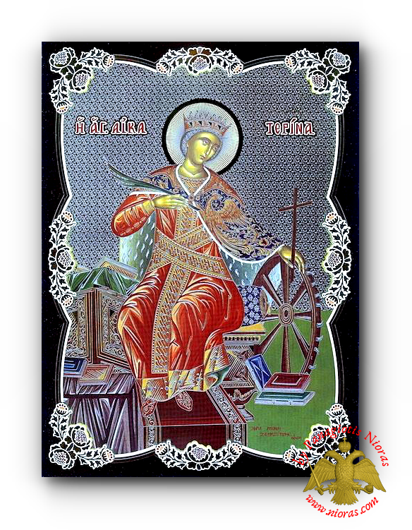 Russian Orthodox Saint Catherine Silver Printed Wooden Icon