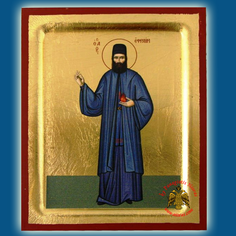 Saint Efraim Byzantine Wooden Icon on Canvas