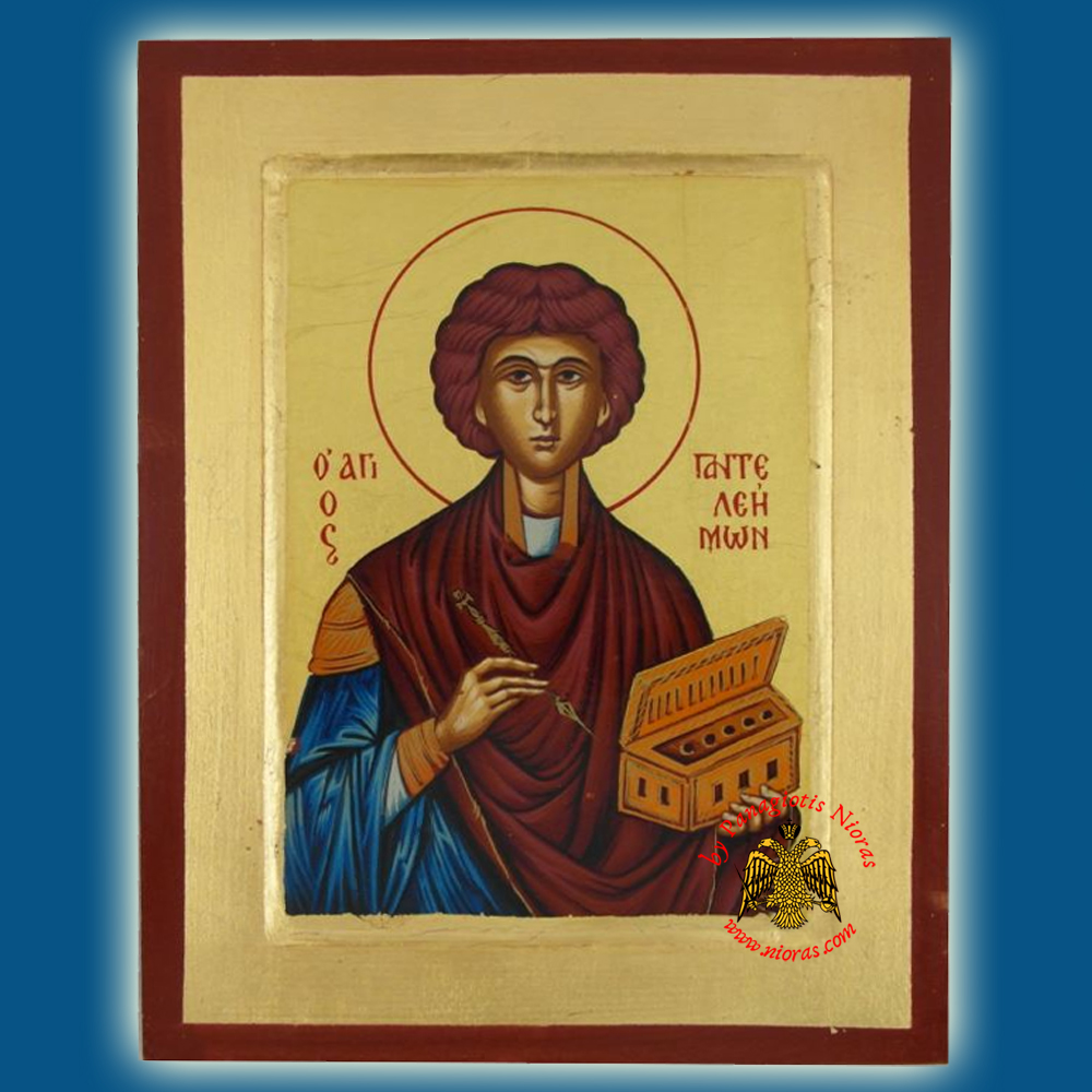Saint Panteleimon Byzantine Wooden Icon on Canvas
