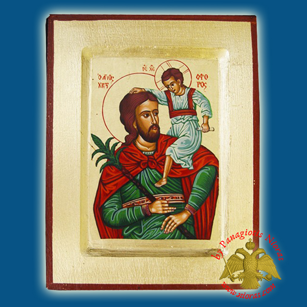 Saint Christopher Byzantne Wooden Icon on Canvas