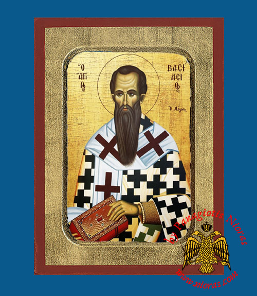 Saint Vasilios the Great, Archbishop of Caesarea Byzantine Wooden Icon by Nun Kassiani