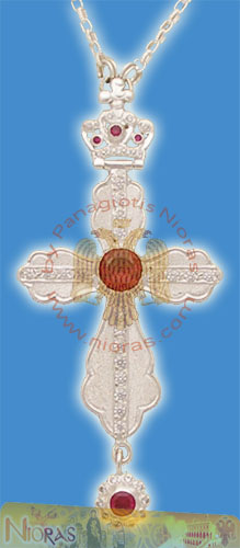 Pectoral Cross Design No 20 Silver with Stones