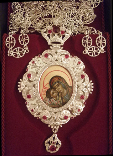 Egolpion Design 35 Silver 925 Handpainted Theotokos