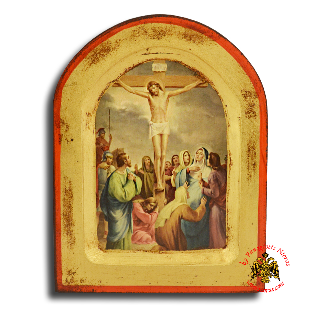 Icon of Station 12 Christ Dies Upon the Cross with Round Top