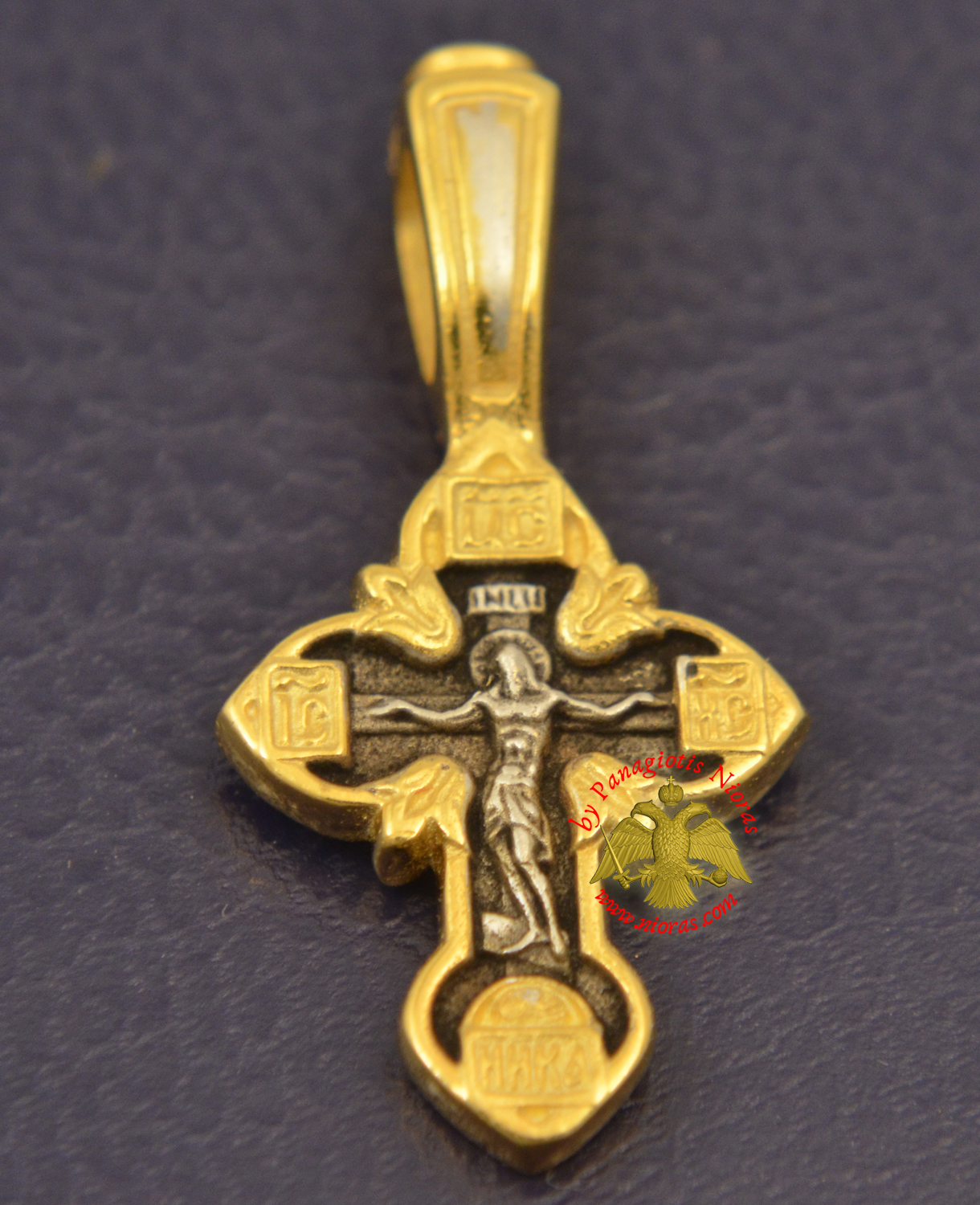 Byzantine Orthodox Cross Motif Russian Pray Double Sided Silver 925 Gold Plated for the Neck