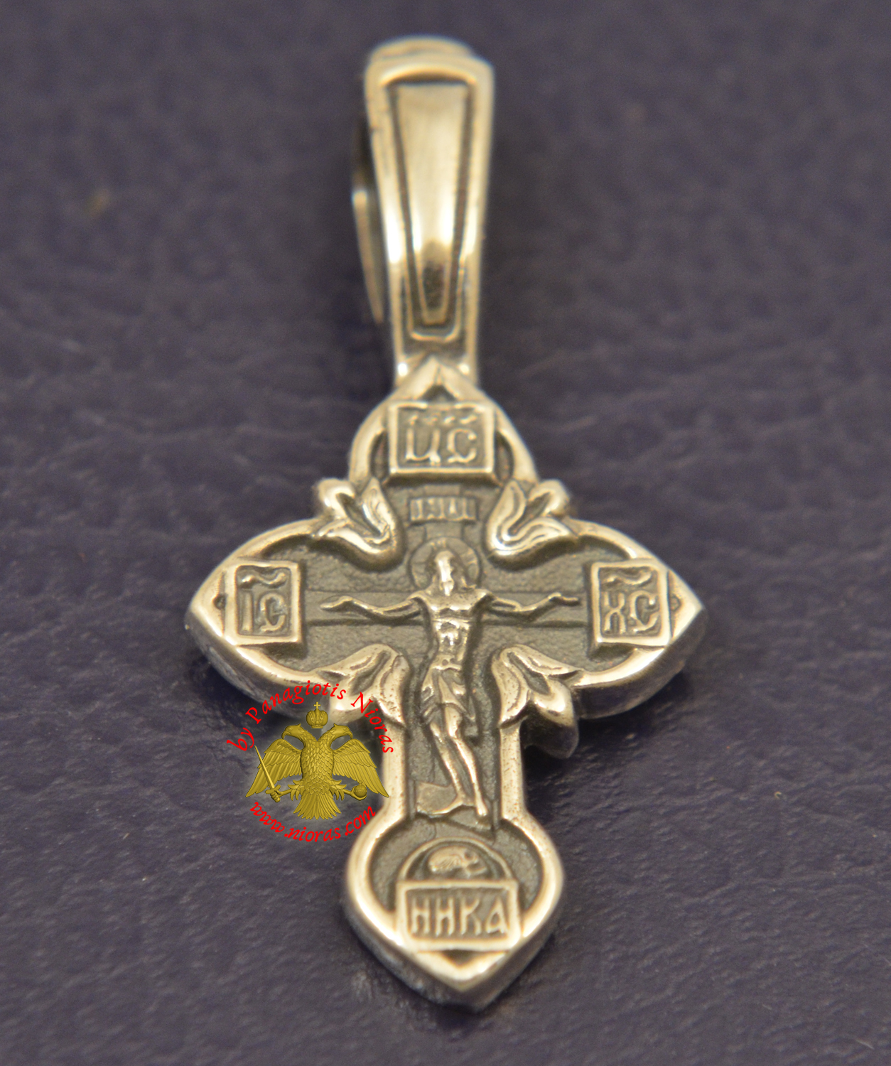 Byzantine Orthodox Cross Motif Russian Pray Double Sided Silver 925 for the Neck