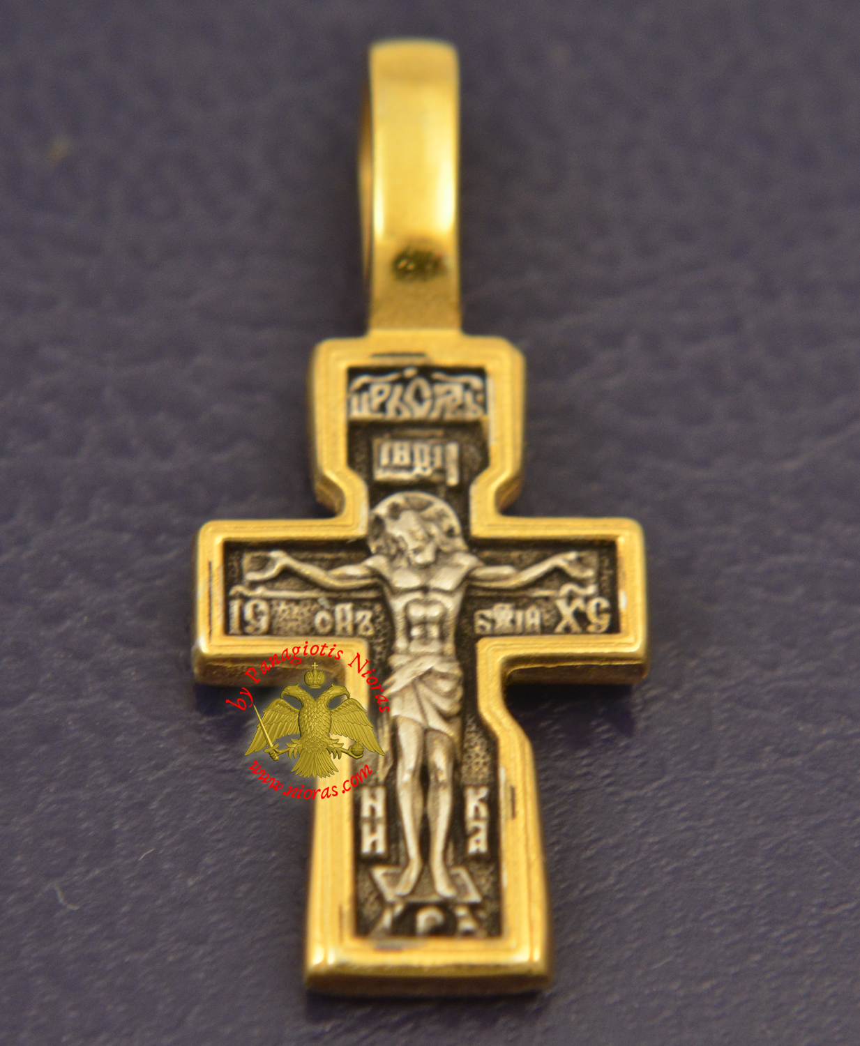 Byzantine Orthodox Cross Motif Russian Double Sided Silver 925 Gold Plated for the Neck