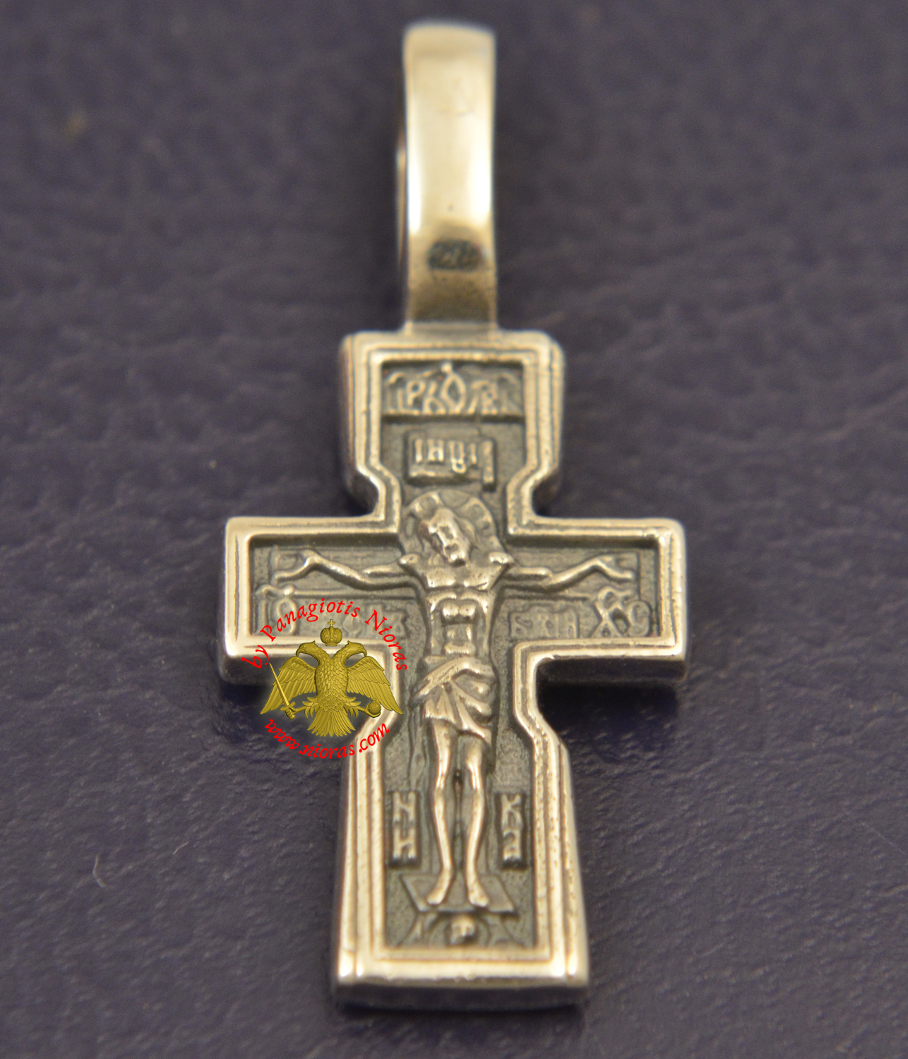 Byzantine Orthodox Cross Motif Russian Double Sided Silver 925 for the Neck