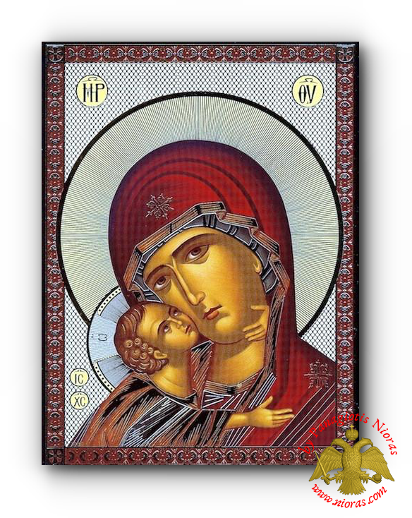 Russian Orthodox Holy Virgin Mary SweetKissing Detail Silver Printed Wooden Icon