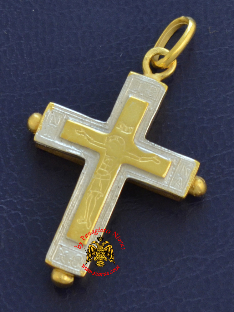Byzantine Orthodox Cross Silver 925 Design Christ and ICXC NIKA Gold Plated