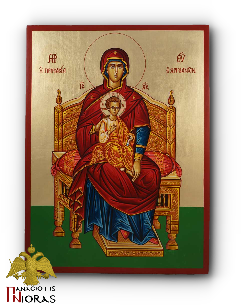 Hagiography Holy Theotokos Enthroned Byzantine Holy Icon 30x40cm