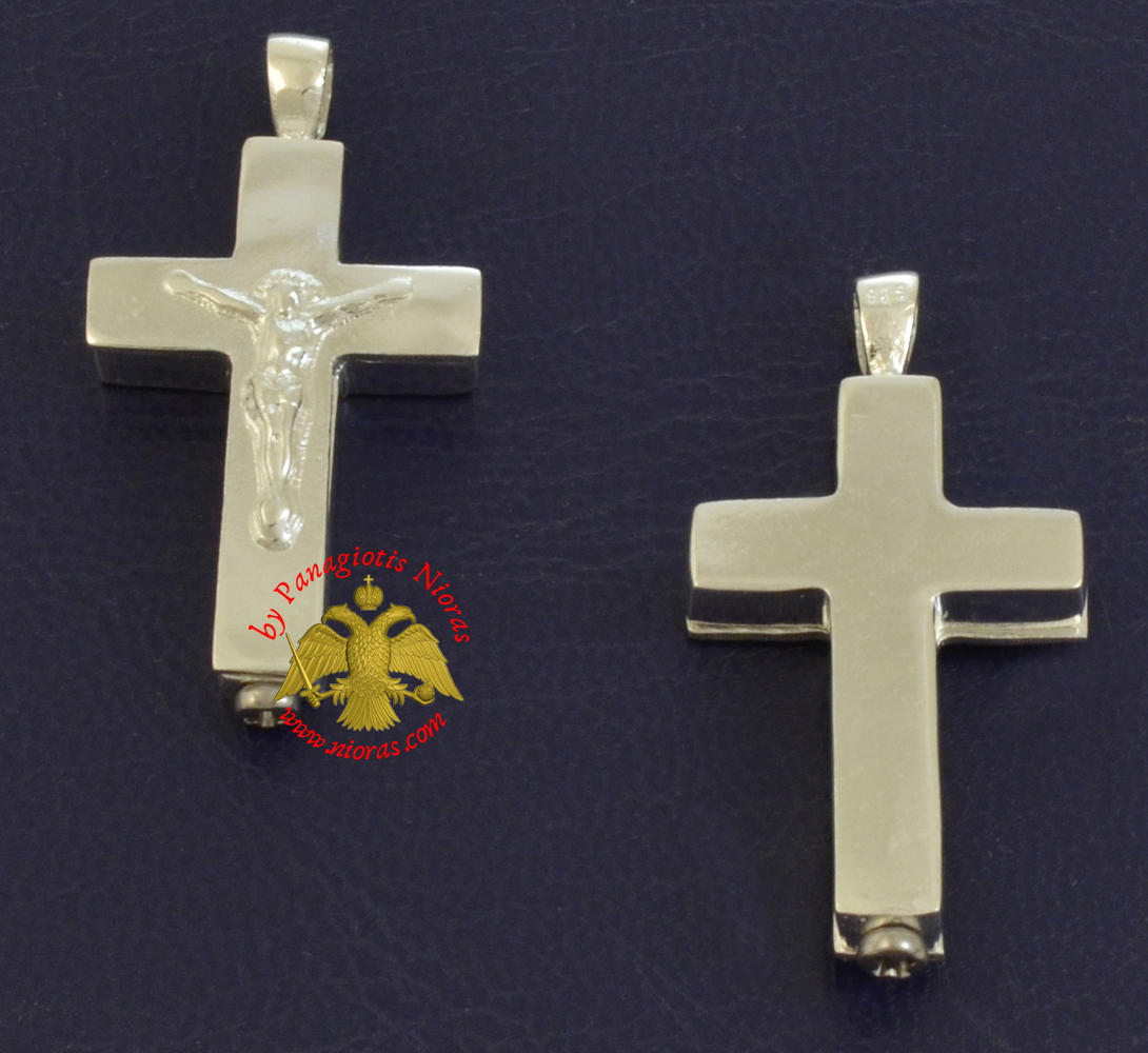 Traditional Byzantine Sterling Silver Cross - Square