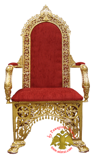 Orthodox Church Chair with Velvet Alouminum 67x62x133cm