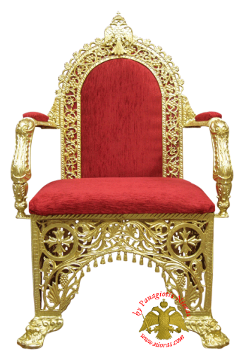 Orthodox Church Chair with Velvet Alouminum 67x62x115cm