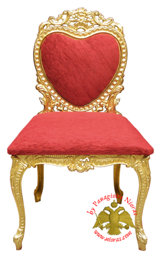 Orthodox Church Chair with Velvet Alouminum 52x45x90 cm