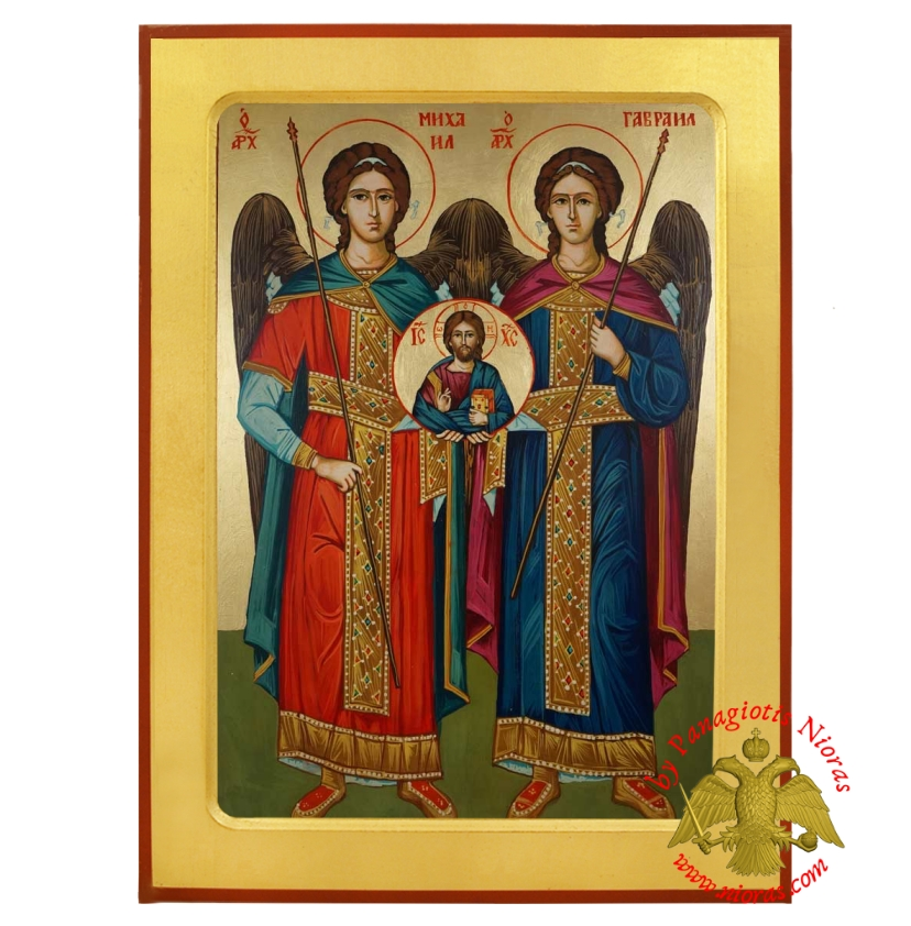 Synaxis of the Holy Archangels Michael and Gabriel with Christ Detail Byzantine Wooden Icon
