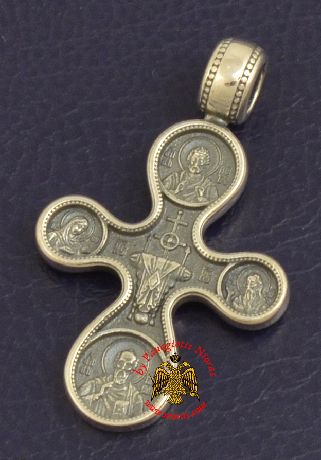 Byzantine Orthodox Cross Silver 925 Golgotha Design for the Neck