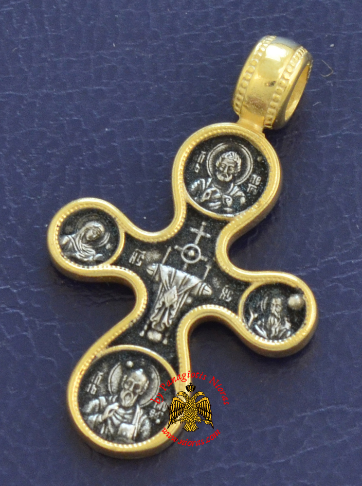 Byzantine Orthodox Cross Silver 925 Golgotha Design Gold Plated for the Neck