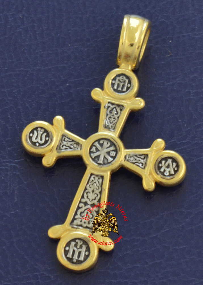 Byzantine Orthodox Cross Silver 925 ARXO Design Gold Plated for the Neck