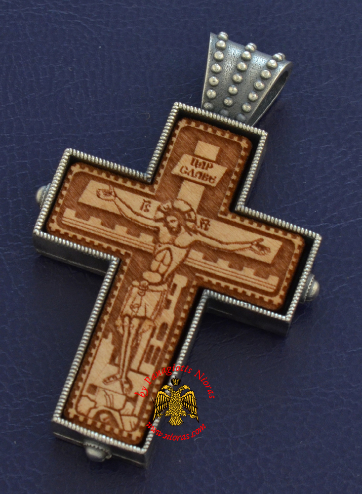 Byzantine Orthodox Cross Silver 925 Wooden Crucifixion Design for the Neck