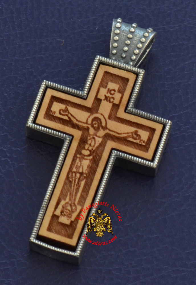 Byzantine Orthodox Cross Silver 925 Christ Design for the Neck