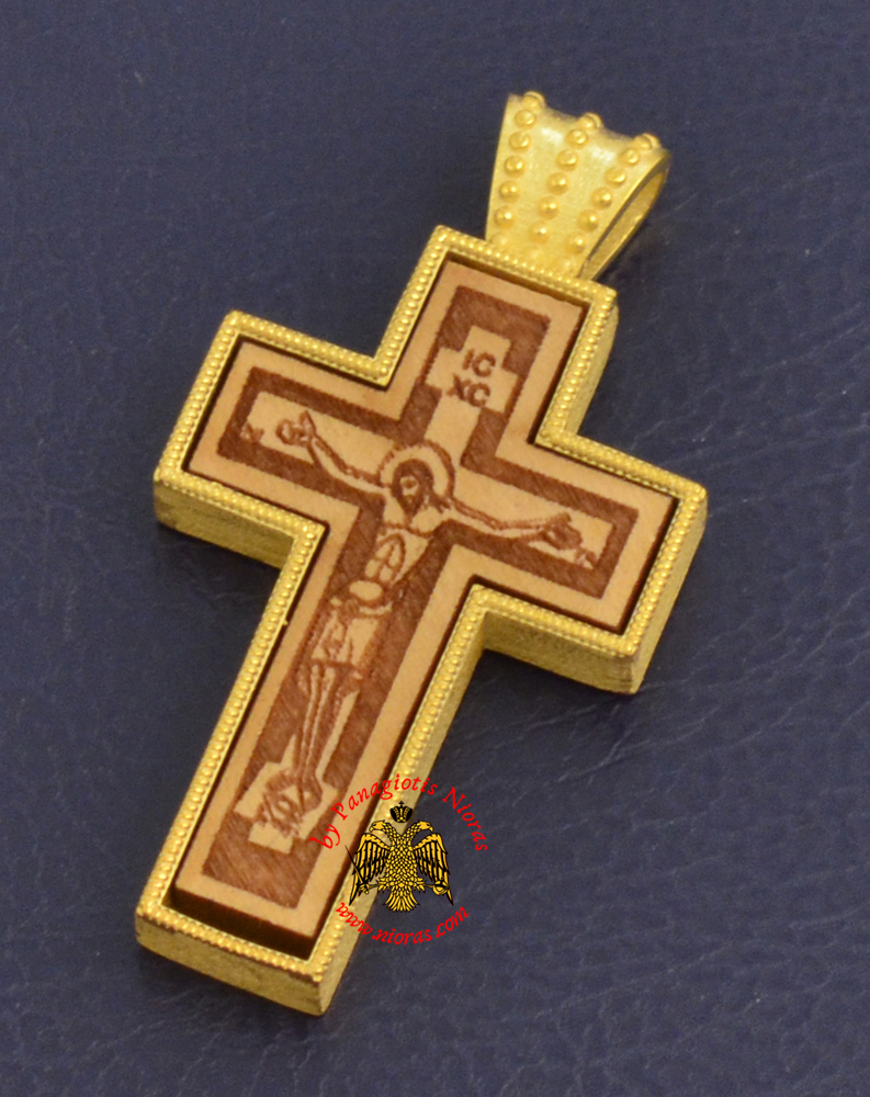 Byzantine Orthodox Cross Silver 925 Christ Design Gold Plated Details for the Neck