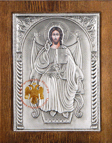 Christ on the Throne Silver Plated Icon