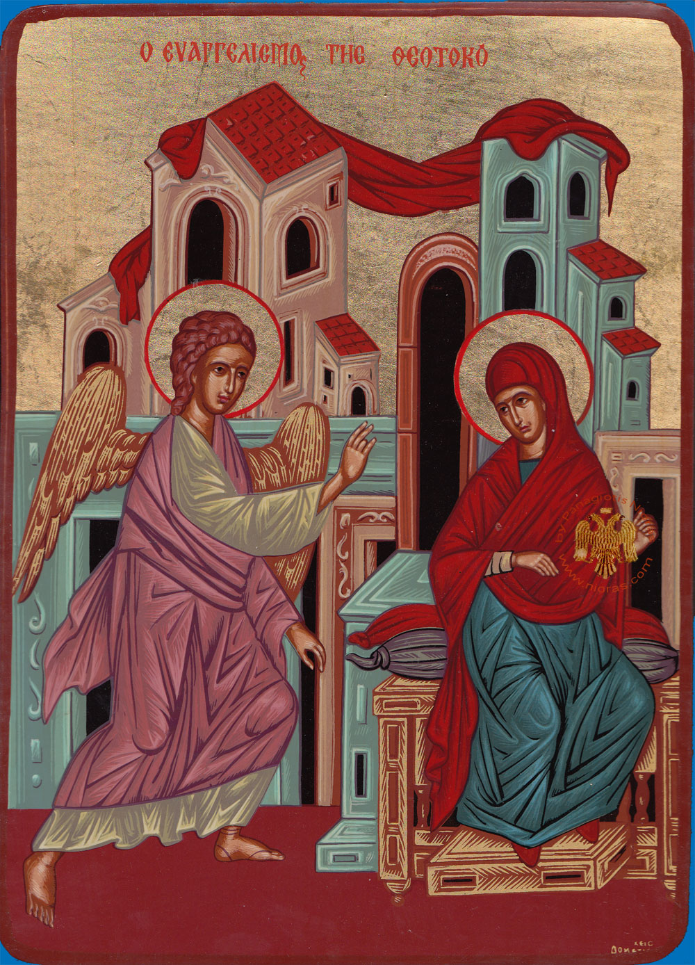 Theotokos Panagia Annunciation Wooden Byzantine Icon on Canvas