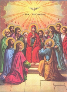 Holy Wooden Icon The Pentecost NeoClassical Style