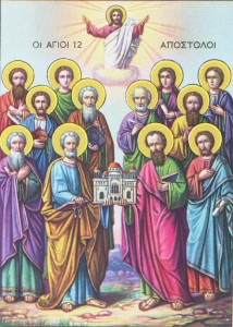 Holy Wooden Icon Synaxis of the twelve Saint Apostles NeoClassical Style