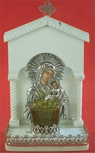 Icon with Oil Lamp B Silver Plated Decor