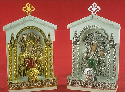 Traditional Orthodox Icon with Electric Lamp D White Coloured