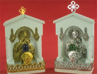 Traditional Orthodox Icon with Electric Lamp F' White Coloured