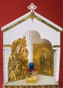 Traditional Orthodox Icon with Electric Lamp Corner A' White Coloured Brass Decor