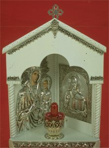 Traditional Orthodox Wooden Iconostasis with Electric Lamp Corner White Coloured Silver Plated 21x32cm