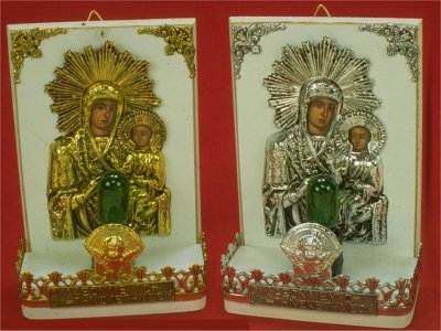 Traditional Orthodox Icon with Electric Lamp I' White Coloured