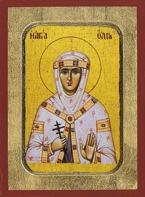 Saint Olga wooden byzantine icon