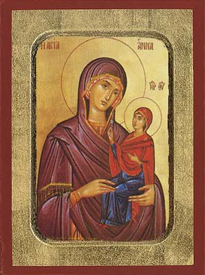 Saint Anna the Mother of Theotokos Byzantine Wooden Icon
