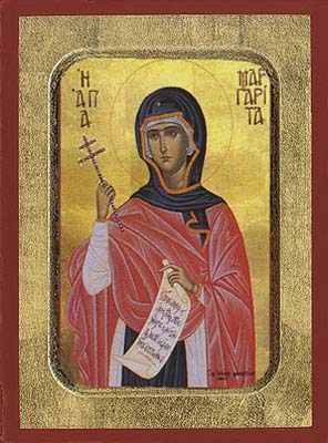 Saint Margaret Byzantine Wooden Icon