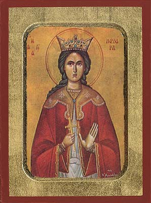 Saint Barbara Byzantine Wooden Icon