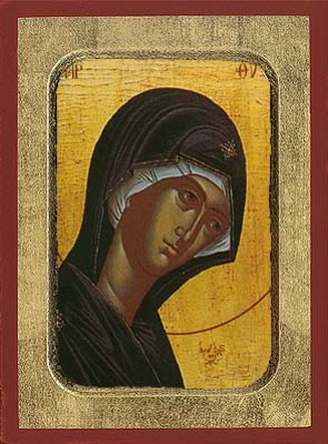 "Holy Virgin Mary ""Supplicating"" Wooden Icon"