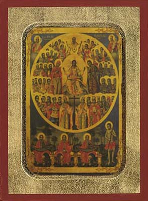 Sunday of All Saints Byzantine Wooden Icon