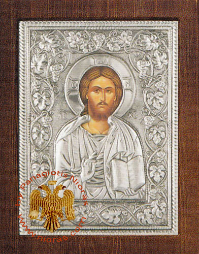 Christ Blessing Silver Plated Icon