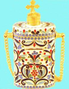 Anointing Holy Oil Bottle With Orthodox Enamel Gold plated