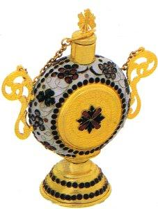 Anointing Holy Oil Round Shaped Bottle With Enamel Gold plated